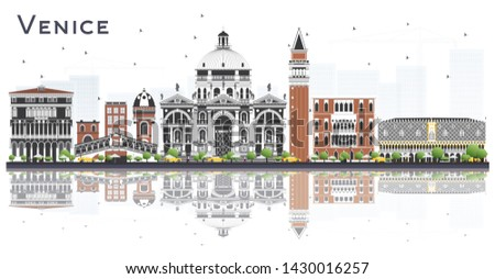 Venice Italy City Skyline with Color Buildings and Reflections Isolated on White. Business and Tourism Concept with Historic Architecture. Venice Cityscape with Landmarks.