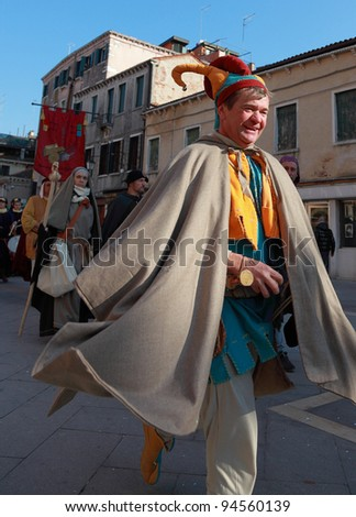 VENICE, ITALY-FEBRUARY 26:Unidentified disguised man as a buffoon at Sestiere Castello participate in the Carnival of Venice on February 26, 2011. In 2012 the Carnival will be between February 11-21. #94560139