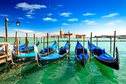 Venice Italy. Gondolas in Grang Canal, San Marco Square with San Giorgio di Maggiore church in the background.