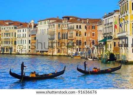 Venice, Italy. Gondolas on the Grand Canal