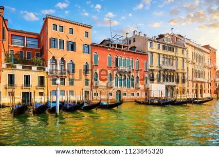 venice  italy. gondolas with...