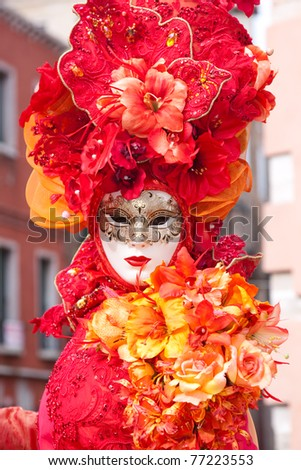 VENICE, ITALY - MARCH 7: Venice mask at St. Mark's Square, Carnival of Venice on March 7, 2011. The carnival was held in 2011 from February 26 to March 8, 2011.