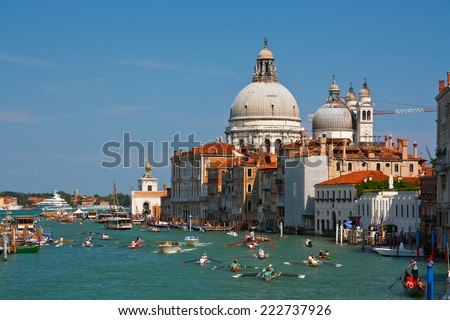 Venice, Italy  May 27 2012: Rowing boats during the Vogalonga event in Venice, Italy. #222737926