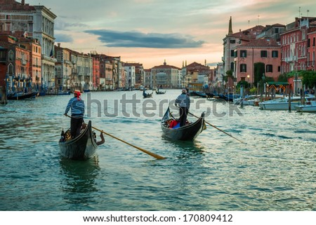 VENICE, ITALY � MAY 19, 2013: Sunset over the Grand Canal - stock photo