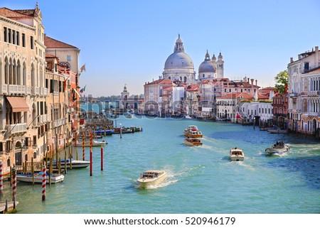 VENICE, ITALY - OCTOBER 12, 2016: Grand Canal in Venice, Italy #520946179