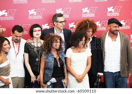 VENICE, ITALY - SEPTEMBER 04: John Turturro and Passione movie actors pose on the red carpet for photographers at 67th Venice Film Festival September 04, 2010 in Venice, Italy.