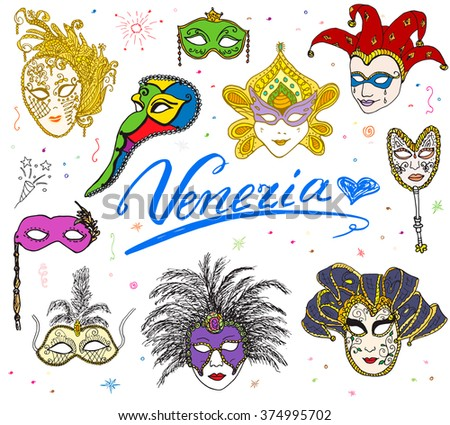 Venice Italy sketch carnival venetian masks Hand drawn set. Drawing doodle collection isolated. #374995702
