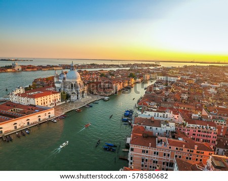Venice landmark, aerial view of Piazza San Marco or st Mark square, Campanile and Ducale or Doge Palace. Italy, Europe.