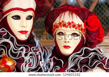 VENICE - MARCH 05: Participants in The Carnival of Venice, an annual festival that starts around two weeks before Ash Wednesday and ends on Mardi Gras on March 05 2011 in Venice, Italy.