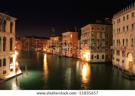 Venice: Night view from the Rialto Bridge