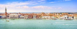 Venice panoramic landmark, aerial view of Piazza San Marco or st Mark square, Campanile and Ducale or Doge Palace. Italy, Europe.