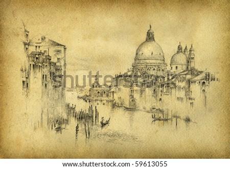 Venice. Pencil on paper. - stock photo