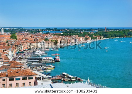 Venice sea view from Campanile di San Marco, Italy
