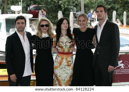 VENICE -SEP 1: Oscar Isaac; Andrea Riseborough; Madonna; Abbie Cornish; James D'Arcy at the 68th Venice International Film Festival in Venice, Italy on September 1, 2011.