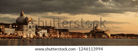 Venice skyline panorama at night with historical architectures in Italy.