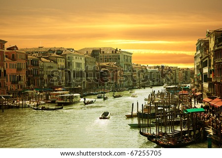 Venice,Sunset on the canal grande