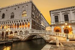 Venice, the Doge's Palace, Pallazzo delle Prigioni and Ponte della Palia (The Straw Bridge) at dawn, Italy