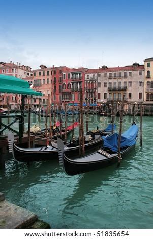 Venice: Traditional gondolas in Canal Grande, near Rialto.