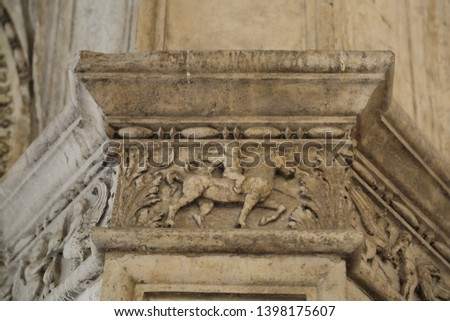 VENICE, VENETO, ITALY - APRIL 20, 2019: Outdoor details (exterior) of Doge Palace (Palace Ducale).  #1398175607