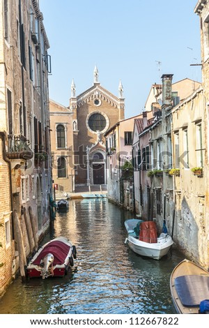 Venice (Venezia, Veneto, Italy), old church on a canal