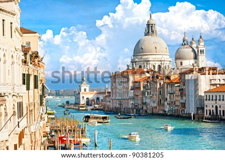 Venice, view of grand canal and basilica of santa maria della salute. Italy.