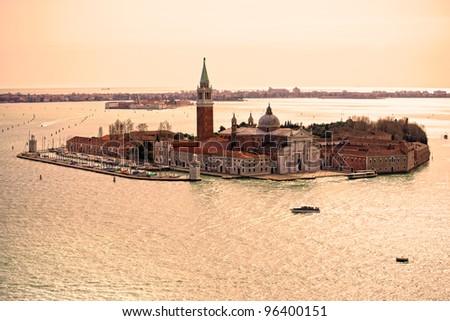 Venice, View of San Giorgio maggiore from San Marco. Italy.
