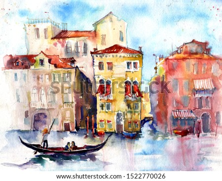 Venice watercolor. A house with red curtains. Beautyfull bright watercolor with romantic Venice view. Some ancient houses over the water and a gondola in the foreground.