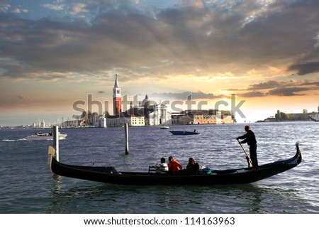 Venice with gondola against