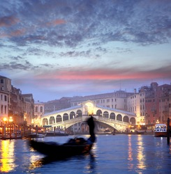 Venice with gondola in the evening, Italy