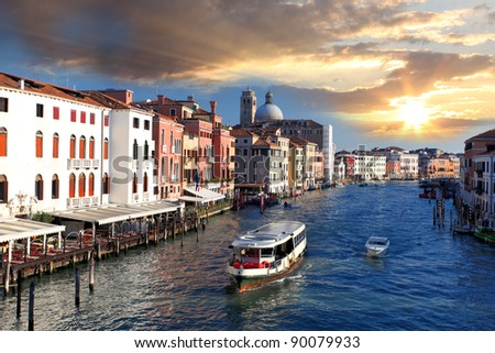 Venice with Grand Canal and water bus in Italy