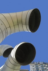 vent pipes of Industrial air conditioning systems in city square