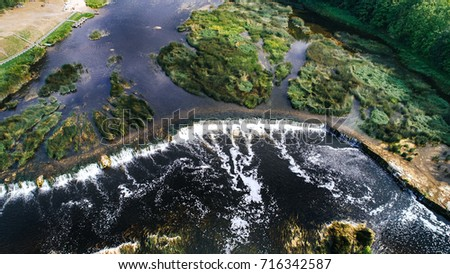 Venta Rapid waterfall, the widest waterfall in Europe, Kuldiga, Latvia. Captured from above.