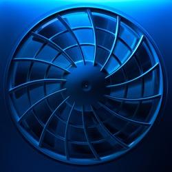 Ventilation fan in blue light