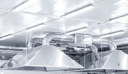 Ventilation system extraction hood supply air return for food factory industry.