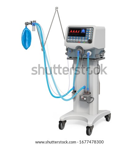 Ventilator for artificial ventilation, 3D rendering isolated on white background