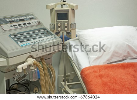Ventilator machine next to a bed in the intensive care ward of medical center