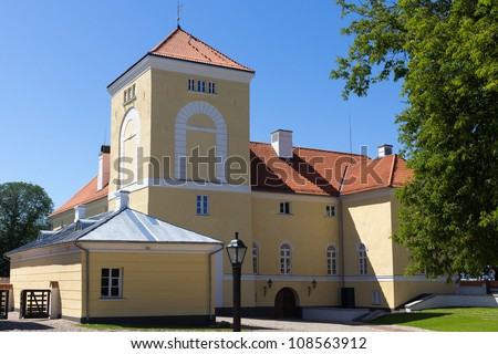 Ventspils Castle. It is one of the oldest and most well-preserved Livonian Order castles remaining - stock photo