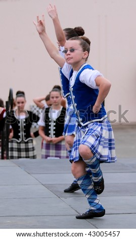 VENTURA, CA  - OCTOBER 11: Girls performing at a dance competition at the Ventura Seaside Highland Games on October 11, 2009 in Ventura, CA.