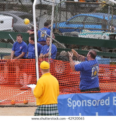 VENTURA, CA, USA - OCTOBER 11 : An unidentified athlete in action during a sport event at Ventura Seaside Highland Games October 11, 2009 in Ventura, CA