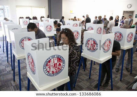 VENTURA COUNTRY, CA - NOVEMBER 06: Voters at polling station in 2012 Presidential Election on November 06, 2012 Ventura County, California