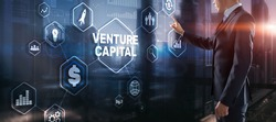 Venture capital. Investor capital. Businessman pressing virtual screen inscription.