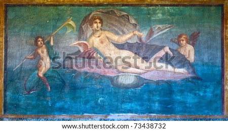 Venus in the shell ancient roman fresco in Pompeii, Italy