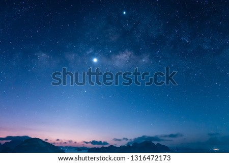 Venus, Jupiter and Saturn with the Milky Way