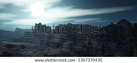Venus landscape, surface of Venus, alien mountain view, 3d rendering