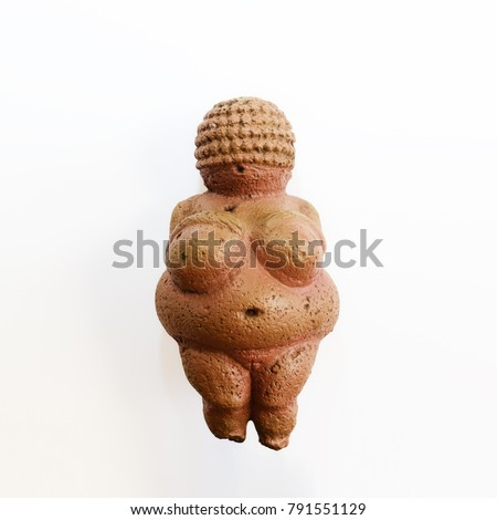 Venus of Willendorf statuette, exact copy of the original. Ancient motherhood and fertility symbol.