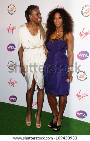 Venus Williams and Serena Williams arriving for the 2012 WTA Pre-Wimbledon Party at the Roof Gardens in Kensington, London. 21/06/2012 Picture by: Steve Vas / Featureflash