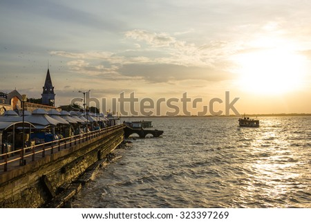 Ver o Peso Market in Belem and the Sea with the Sunset - Brazil Foto stock ©
