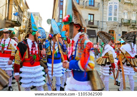 VERIN-SPAIN,4-FEBRUARY-2018 Carnival Verin in Galicia Spain one of the most ancient in the world #1105362500