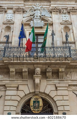 Vermexio Palace - City Hall of Syracuse, loctaed on the Ortygia isle, Sicily island, Italy Foto d'archivio ©