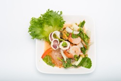 Vermicelli with spicy salad on white background